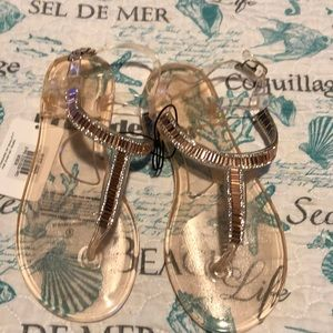 NWT Rose 🌹 GOLD TOE Jelly Thong Sandals
